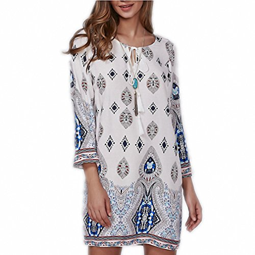 Price comparison product image Vintage Ethnic Style Women Autumn Summer Dress Geometric Printed O-Neck 3/4 Sleeve Mini Straight Shift Dresses Vestidos White L