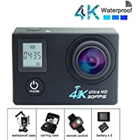 DareTang 4K Action Camera Wifi HD 30fps,Waterproof Action Cam 170 Wide Angle Len with SONY Sensor Include Carring Case,2pcs Batteries,Remote and Full Accessories Kits(Black Dual Screen)