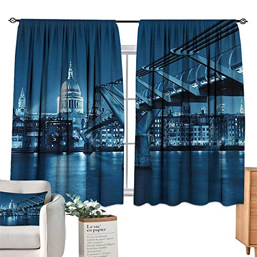 (RuppertTextile Thermal Curtains Cityscape,Millennium Bridge and St Pauls Cathedral at Night in London Monument Town Scenery,Dark Blue for Living, Dining, Bedroom (Pair) 72