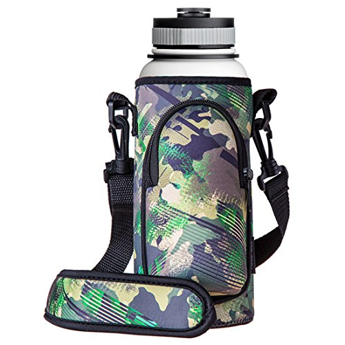 ter Bottle Sleeve Carrier Holder with Shoulder Strap, Pouch, Pocket & Carrying Handle (Fits 32oz/40oz Hydro Flask, Nalgene, Juglug, Contigo, etc) - Green Camouflage (Shoulder Holder)