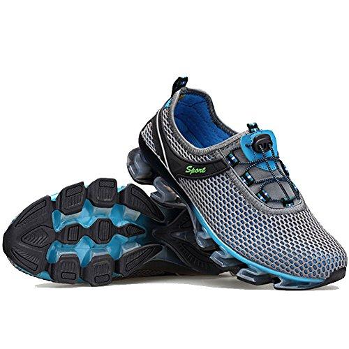 FashionYoung - Zapatillas para correr en montaña de malla para hombre gris gris