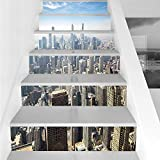 Stair Stickers Wall Stickers,6 PCS Self-adhesive,Cityscape,Aerial View of Chicago USA Tall Buildings Contemporary Architecture Skyscrapers,Blue White,Stair Riser Decal for Living Room, Hall, Kids Room
