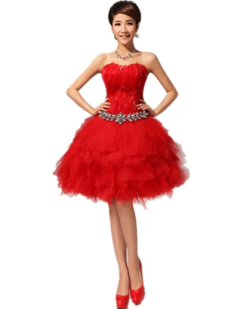 Shanghai Story Feather Strapless Bridesmaid Prom Cocktail Party Dress 12
