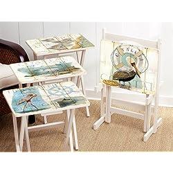 Cape Craftsmen Shore Birds TV Trays Stand, Set of 4