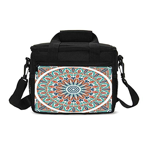 (Moroccan Decor Durable Lunch Bag,Floral Geometry Complex Design Medallion Middle Ages Symbolic Tribal Artwork for Picnic Travel,9.4