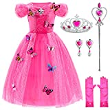 Princess Cinderella Dress Up Party Costumes with Deluxe Accessories Set 4-5 Years(Rose Red 110cm)