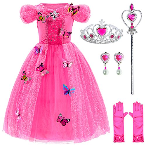 Princess Cinderella Dress Up Party Costumes with Deluxe Accessories Set 6-7 Years(Rose Red -