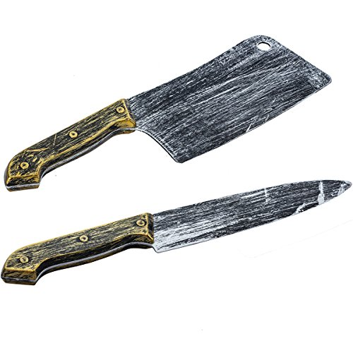 Tigerdoe Fake Knife Props - 2 Pack - Cleaver & Butcher Knife Set - Halloween Costume Props - Fake Knives -