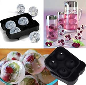 CXLKST Whiskey Cocktail Ice Cube Ball Maker Mold 4 Large Sphere Mould Round Silicone