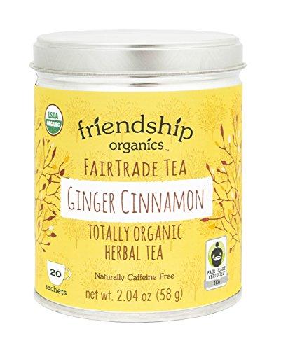 Friendship Organics Ginger Cinnamon, Totally Organic and Fair Trade Herbal Tea in Tagless Tea Bags (20 count)