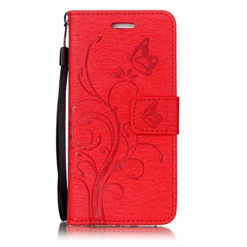 """iPhone 6 / 6S Hülle Tasche Schutzhülle Case Cover Bumper Geldbeutel und Anti-Scratch Löschen Back für Apple iPhone 6 / 6S 4.7"""" Rot"""