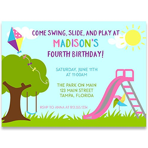 Birthday Party Invitations, Playground Birthday, Blue, Green, Pink, Purple, Yellow, Playground Birthday Party Invitation, Girl, Swing, Slide, Play, Kite,Set of 10 Custom Printed Invites with Envelopes