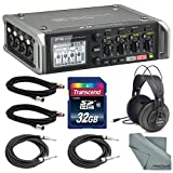 Zoom F4 Multitrack Field Recorder with Timecode w/ Samson SR850 Headphones + 32 GB SDHC + 1/4-Inch Cable + 3 Pin XLR Cable + FiberTique Microfiber Cleaning Cloth