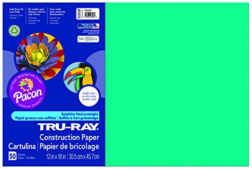 Pacon Tru-Ray Construction Paper, 12-Inches by 18-Inches, 50-Count, Turquoise (103055)