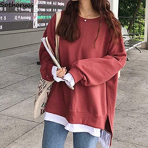 WDDGPZ1 Sweatshirt Hoodies Damen O-Neck Plus Velvet Freizeit Patchwork Allgleiches Kawaii Sweatshirts Damen Oversize Soft Loose Students Red