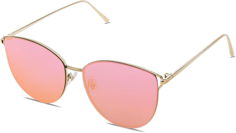 SOJOS Mirrored Cat Eye Sunglasses Flat Lens UV400 Protection SJ1085