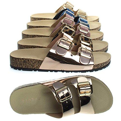 Defeat14 Rose Gold Molded Footbed, Casual Slide In 2 strap Cork Platform Flat Sandal -8