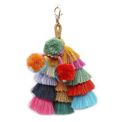 Tassels Key Chain, Qiker Women Girls Colorful Bohemain Tassels Pompom Key Chain for Handbag Wallet Purse Gift by Qiker