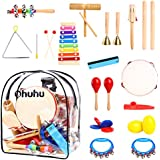 Ohuhu 20 PCS Kids Musical Instrucments, Toddler Music Toys, Rhythm Percussion Set for Baby Kid Child Boys Girls, Xylophone Harmonica Tambourine Hand Bell Shaker Egg Kazoo Storage Backpack Included