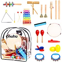 Ohuhu 20 PCS Kids Musical Instruments, Toddler Music Toys, Rhythm Percussion Set for Baby Kid Child Boys Girls, Xylophone Harmonica Tambourine Hand Bell Shaker Egg Kazoo Storage Backpack Included