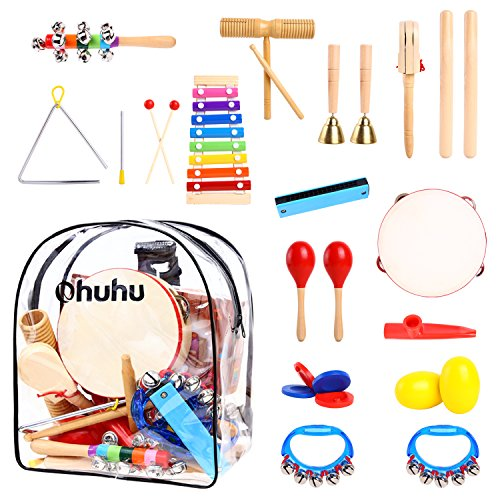 Ohuhu 20 PCS Kids Musical Instruments, Toddler Music Toys, Rhythm Percussion Set for Baby Kid Child Boys Girls, Xylophone Harmonica Tambourine Hand Bell Shaker Egg Kazoo Storage Backpack (Bell Shaker)