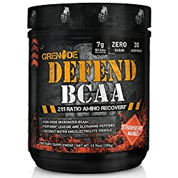 Grenade Defend BCAA & Amino Post Workout Recovery, Added Pepform Leucine and Coconut Water for Muscle Building and Optimal Hydration, Strawberry Mango, 390G