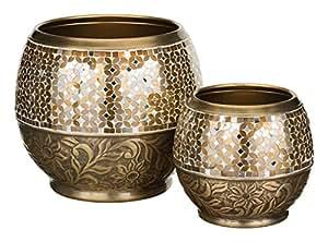 Regal Art & Gift Metal and Glass Jewel Planter Set of 2 Brass Garden Decor