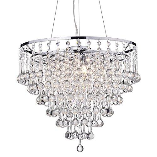 - Edvivi 5-Light Crystal Shade Chrome Chandelier Pendant Ceiling Fixture | Glam Lighting