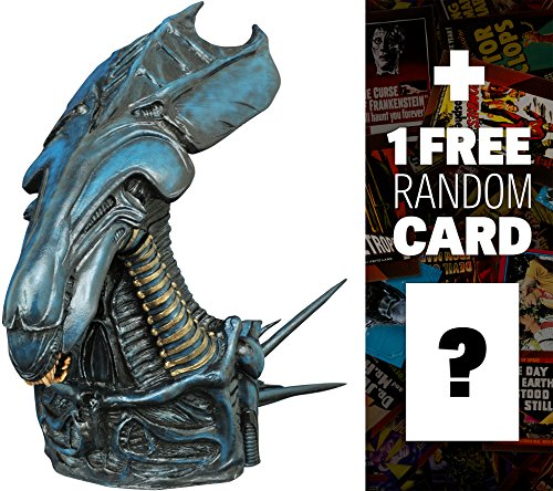 """Alien Queen: ~8"""" Aliens x Diamond Select Figural Bust Bank + 1 FREE Classic Sci-fi & Horror Movies Trading Card Bundle (81397)"""