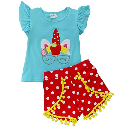 So Sydney Toddler & Girls Apple Back to School Collection Shorts, Capris, Complete Outfits (6 (XL), Pencil Unicorn Pom Shorts) -