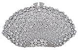 Mossmon Crystal Clutch Women Luxury Rhinestone Evening Bag (Silver)