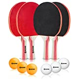 Ebung Table Tennis Set – 4 Table Tennis Paddles (2 Black, 2 Red), 3 Orange Balls & 3 White Balls – Allround Blade – Ergonomic Flared Handle – Ideal Tennis Table Set for Professional Grade Training