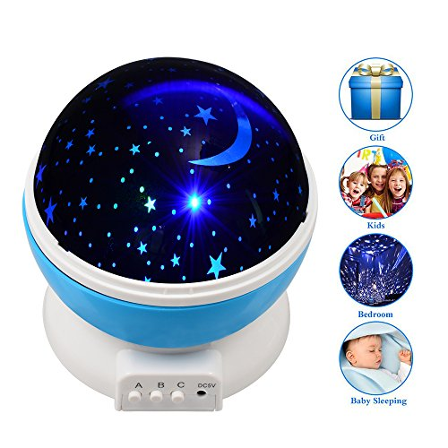 Tropicalfan Starry Night Lights Projector For Kids,Rotating Moon Stars Romantic Night Lights Lamp For Children Bedroom,USB Cable /Batteries Powered,Best Gift for Girl Women (Blue) (Rotating Lamp Motion)