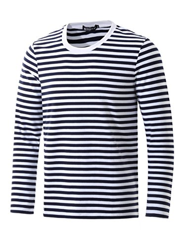 Gondola Costume (Allegra K Men Crew Neck Long Sleeves Stripe-Patterned T-shirt M Navy Blue)