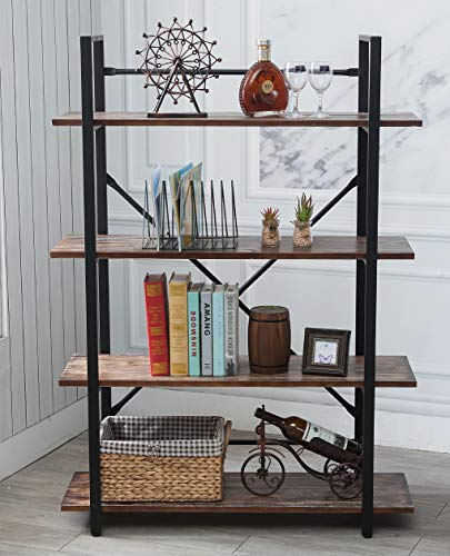BIXIRAO 4 Tiers Industrial Open Bookcases, Wood Book Shelves, Etagere - Storage Rack Display Stand - Metal Book Shelves, Black (4-Tier Solid Wood Bookcase) ()
