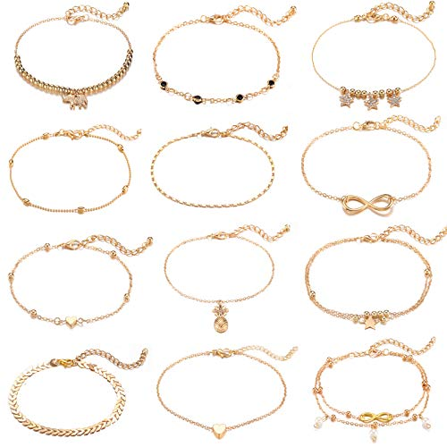 (Starain Women's Charm Anklet Set Gold Multilayer Adjustable Ankles Bracelet for Girls Foot Jewelry)