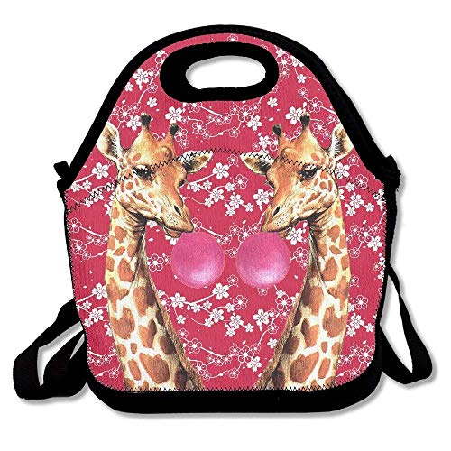 Avagea Nadine Giraffes With Bubblegum Framed Art Lunch Picnic Bag Lunch Box Waterproof Lunch Tote with Zipper Strap For Most