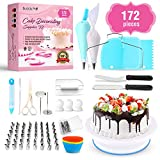 Cake Decorating Supplies 172 Pcs/Baking Supplies Kit/Beginner Baking Tools | Piping Bags and Tips, Icing Spatula, Turntable Cake Stand, Frosting Smoother, Cupcake Decorating Kit by Buddy Pro