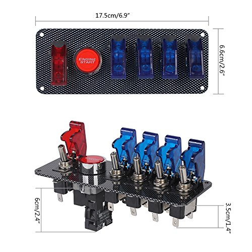 LTC 12V Racing Car Ignition Switch + 4 Blue & 1 Red Car Engine Start K R Switch Panel Wiring Diagram on