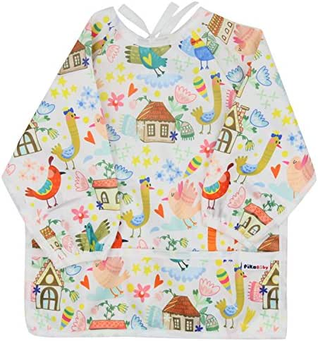 Pikababy Waterproof Long Sleeved bib with Pocket for Toddlers, Girl boy, Unisex