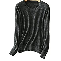 Mmyomi Womens Ladies Round Neck Cashmere Pullover Knitted Sweater Long Sleeve Knitwear Blouse Jumper Tops S Xxl Large Dark Grey