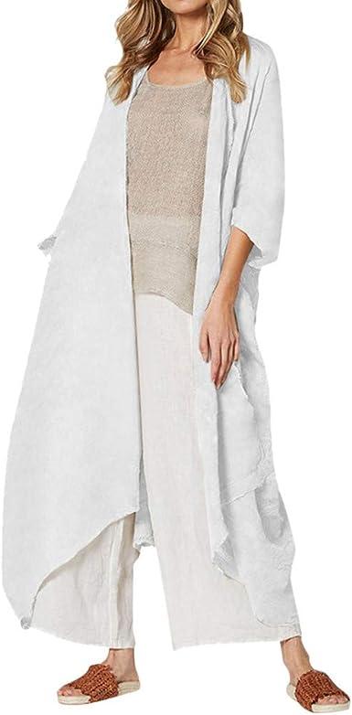 MXJEEIO🍒 Mujer Gasa Cordón Largo Vintage de Lino de imitación Cardigans Tops de Manga 3/4 Ligero Suave Tamaño Grande Color sólido Suelto Blusa Capas de Estilo Boho Casual Bikini Cover-Ups Sarongs: Amazon.es:
