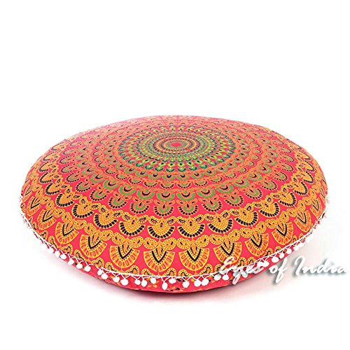 Eyes of India - 32'' Red Mandala Floor Pillow Cushion Seating Throw Cover Hippie Round Colorful Decorative Bohemian Indian boho dog bedCover Only