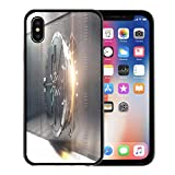 Emvency Phone Case for Apple iPhone Xs Case/iPhone X Case,Safe Open Silver Bank Vault Golden Light Peeking from Soft Rubber Border Decorative, Black