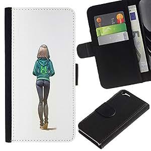 All Phone Most Case / Oferta Especial Cáscara Funda de cuero Monedero Cubierta de proteccion Caso / Wallet Case for Apple Iphone 6 // chica sexy culo blanco mujer de la universidad