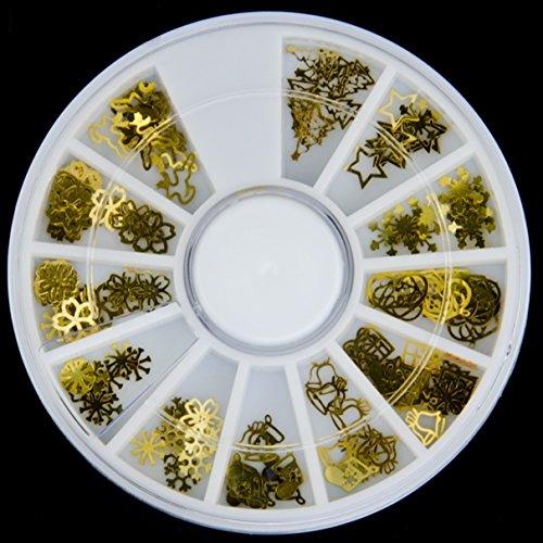 1 Pack 3D Gold Metal Christmas Tree Bell Snowflake Flower Nail Art Rhinestone Wheel Slice Decoration DIY Manicure Nails Tool Tips Kits Delightful Popular Xmas Winter Snow Holidays Tools -