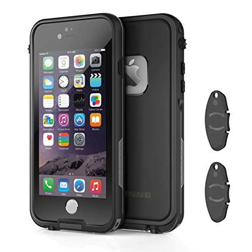 Price comparison product image iPhone 6/6s waterproof case with 2 Case Openers, OUNNE Shockproof IP68 Certified With Touch ID Sand Proof Snowproof Full Body Cover for iPhone 6/6s(4.7inch)-Black