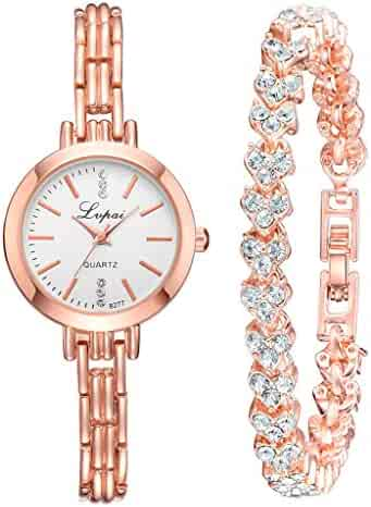 2pcs/Set Fashion Simple Dial Convex Glass Watch With Heart Shaped Full Drill Bracelet