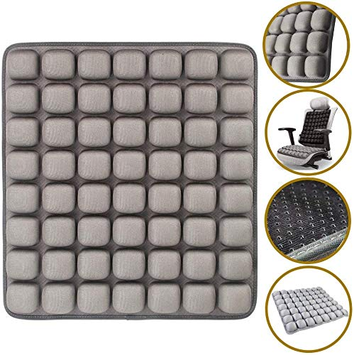 SUNFICON Air Inflatable Seat Cushions Portable Breathable Comfort Cushion Car Seat Office Chair Wheelchair Pad Orthopedics Pain Pressure Relief Cushion Camping Seat Mat 18 x 16 Grey