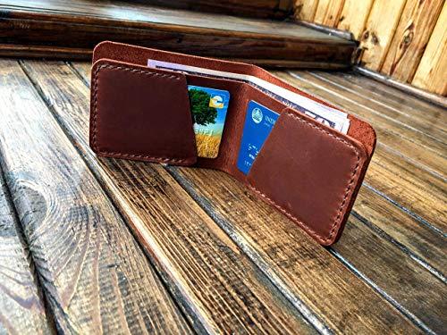 Distressed Leather Fold Bi (Slim Mens Wallet - Handcrafted Distressed Leather - Bifold Brown Wallet - Front Pocket Wallet - Genuine Full Grain - Minimal Unique Design Compact Practical)